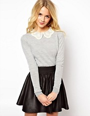 ASOS Embroidered Lace Collar Jumper