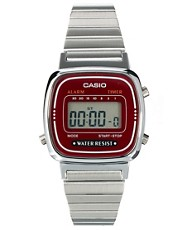 Casio Burgundy &amp; Silver Mini Digital Watch