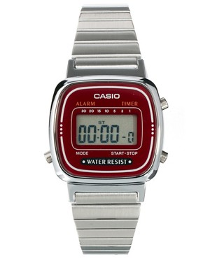 Image 1 ofCasio Burgundy &amp; Silver Mini Digital Watch
