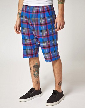 Image 1 ofUnconditional Checked Drop Crotch Shorts