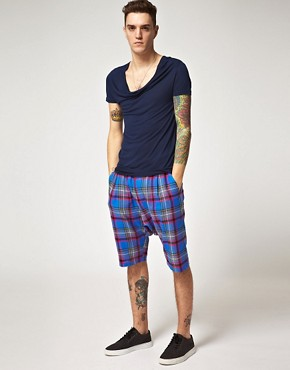 Image 4 ofUnconditional Checked Drop Crotch Shorts