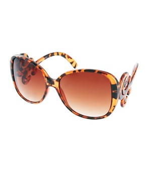 Image 1 ofASOS Oversized &#39;70s Sunglasses With Filigree Arm Detail