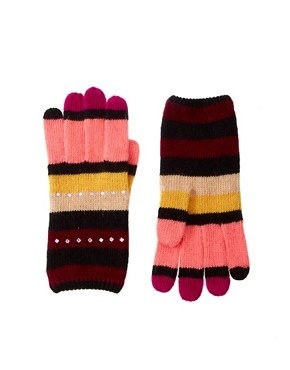 Image 1 ofAlice Hannah Stripe Diamante Gloves