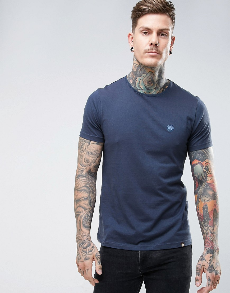 Pretty Green Mitchell Crew Neck T-Shirt in Navy - Navy