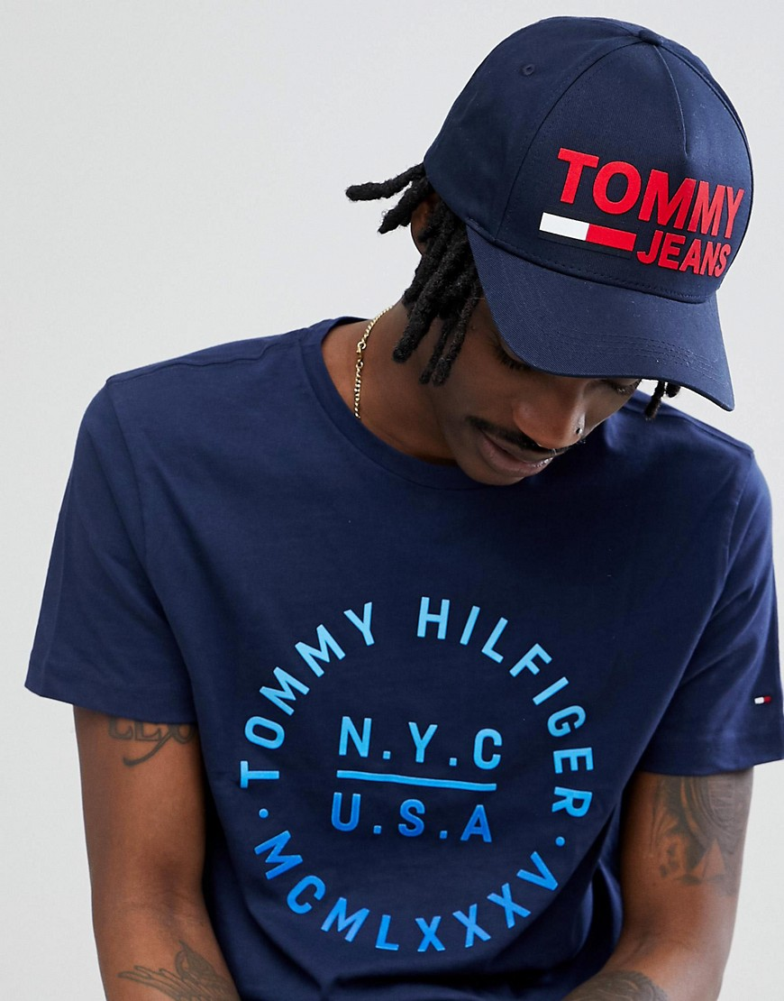 Tommy Jeans - Baseball-Kappe mit beflocktem Flaggen-Logo | Accessoires > Caps > Sonstige Caps | Navy | Jeans | Tommy Jeans
