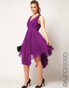 Image 1 ofASOS CURVE Chiffon Dress With Gathered Skirt
