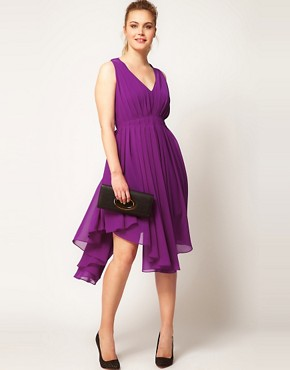 Image 4 ofASOS CURVE Chiffon Dress With Gathered Skirt