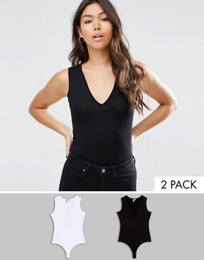 ASOS Sleeveless V Neck Body 2 Pack Save 15%