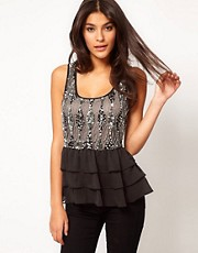 ASOS Peplum Top with Embellishment