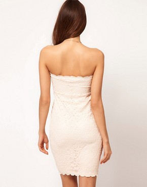 Image 2 ofASOS PETITE Bandeau Dress in Lace