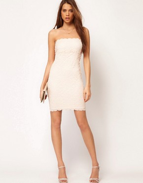 Image 4 ofASOS PETITE Bandeau Dress in Lace