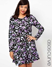 ASOS CURVE Swing Dress In Purple Floral