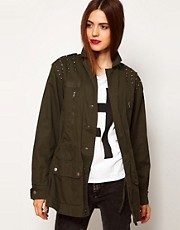 ASOS Army Jacket With Studded Shoulder