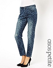 ASOS PETITE - Boyfriend jeans consumati con stampa messicana a laser