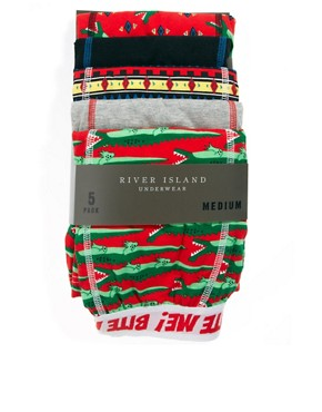 Image 4 ofRiver Island 5 Pack Crocodile Trunks