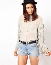 ASOS Shirt With Fringed Sleeves