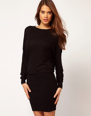 Image 2 ofASOS Knitted Dress with Tight Skirt and Cowl Back