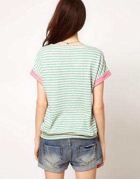 Image 2 ofSplendid Striped Sweat With Neon Loop Back Detail