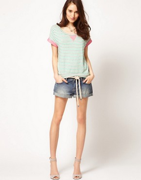 Image 4 ofSplendid Striped Sweat With Neon Loop Back Detail