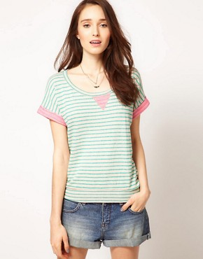 Image 1 ofSplendid Striped Sweat With Neon Loop Back Detail