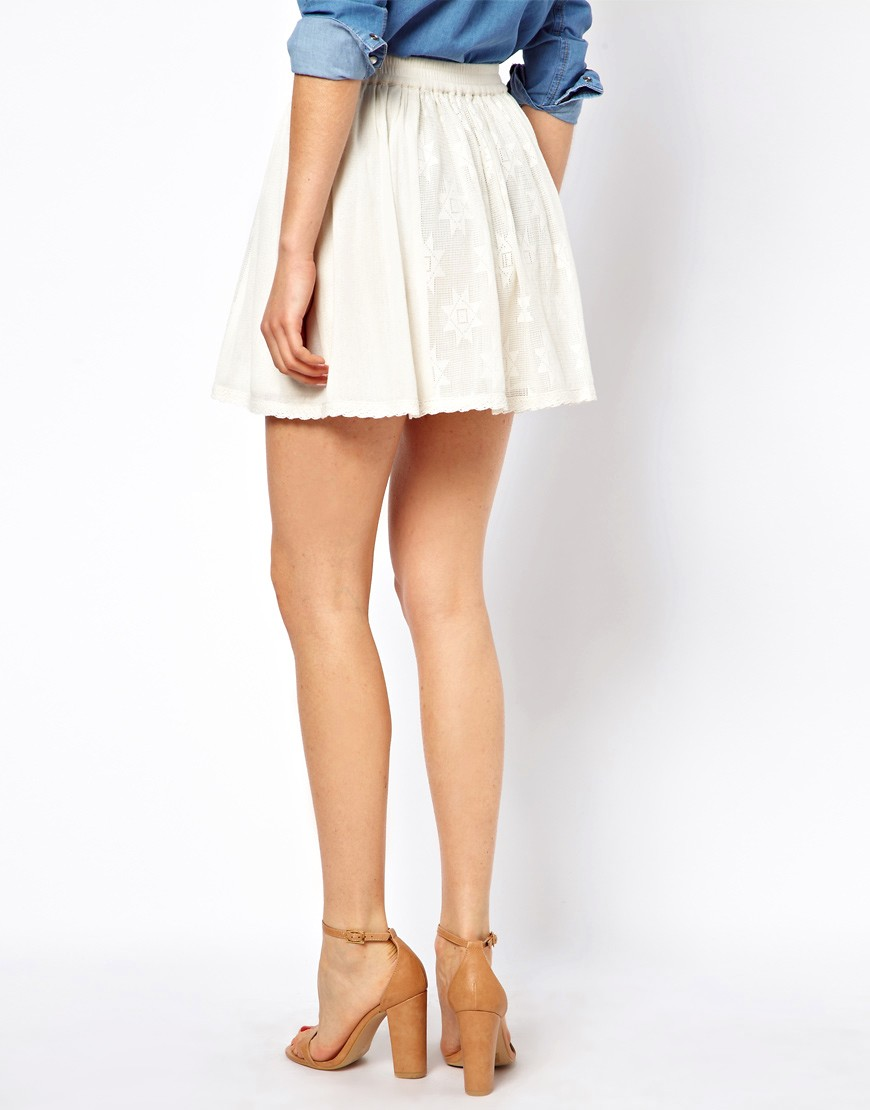 Image 2 of ASOS Skater Skirt in Cotton Lace