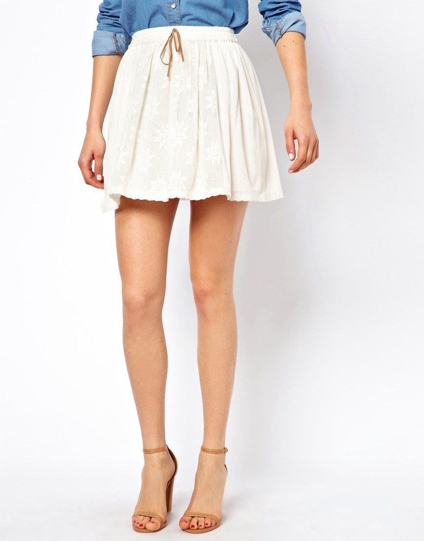 Image 4 of ASOS Skater Skirt in Cotton Lace