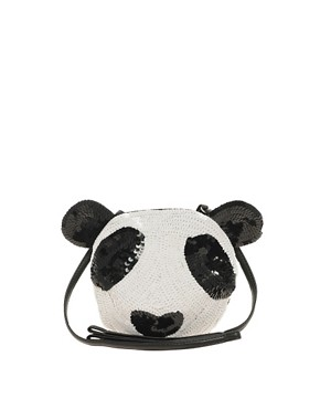 Image 1 ofASOS Sequin Panda Across Body Bag