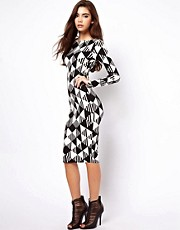 ASOS Abstract Mono Midi Bodycon