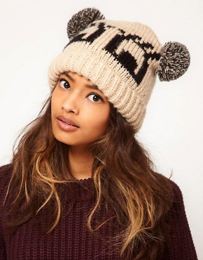 Image 1 ofASOS Flutter Eyes Pom Pom Beanie