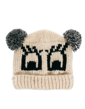 Image 2 ofASOS Flutter Eyes Pom Pom Beanie