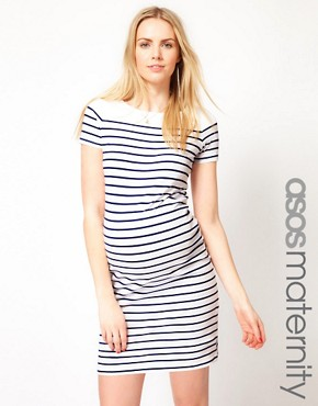 Image 1 ofASOS Maternity Exclusive Dress In Cotton Breton Stripe With Short Sleeve