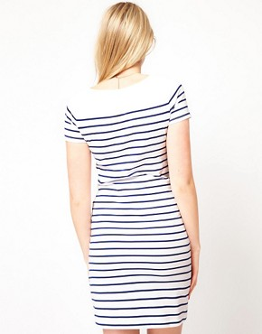Image 2 ofASOS Maternity Exclusive Dress In Cotton Breton Stripe With Short Sleeve
