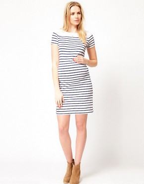 Image 4 ofASOS Maternity Exclusive Dress In Cotton Breton Stripe With Short Sleeve