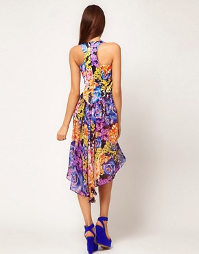 Image 2 ofLipsy Printed Dress With Peplum Detail