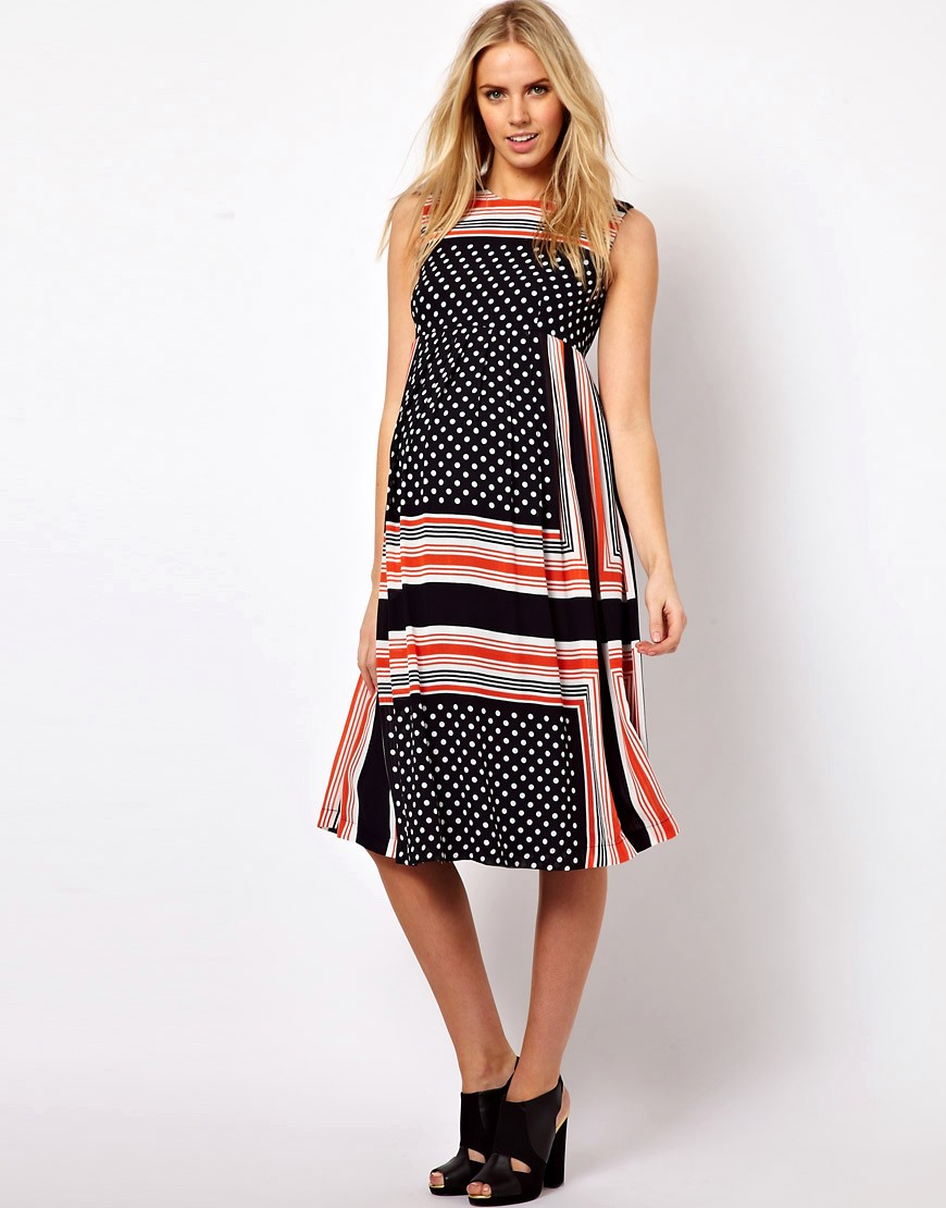 Image 4 of ASOS Maternity Midi Dress In Scarf & Spot Print