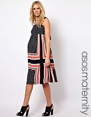 ASOS Maternity Midi Dress In Scarf &amp; Spot Print