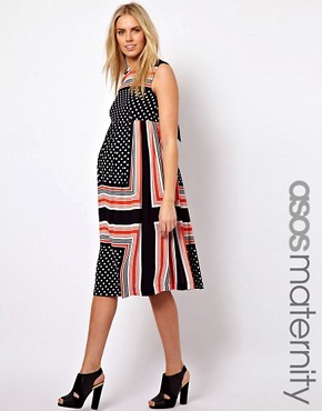 Image 1 ofASOS Maternity Midi Dress In Scarf &amp; Spot Print