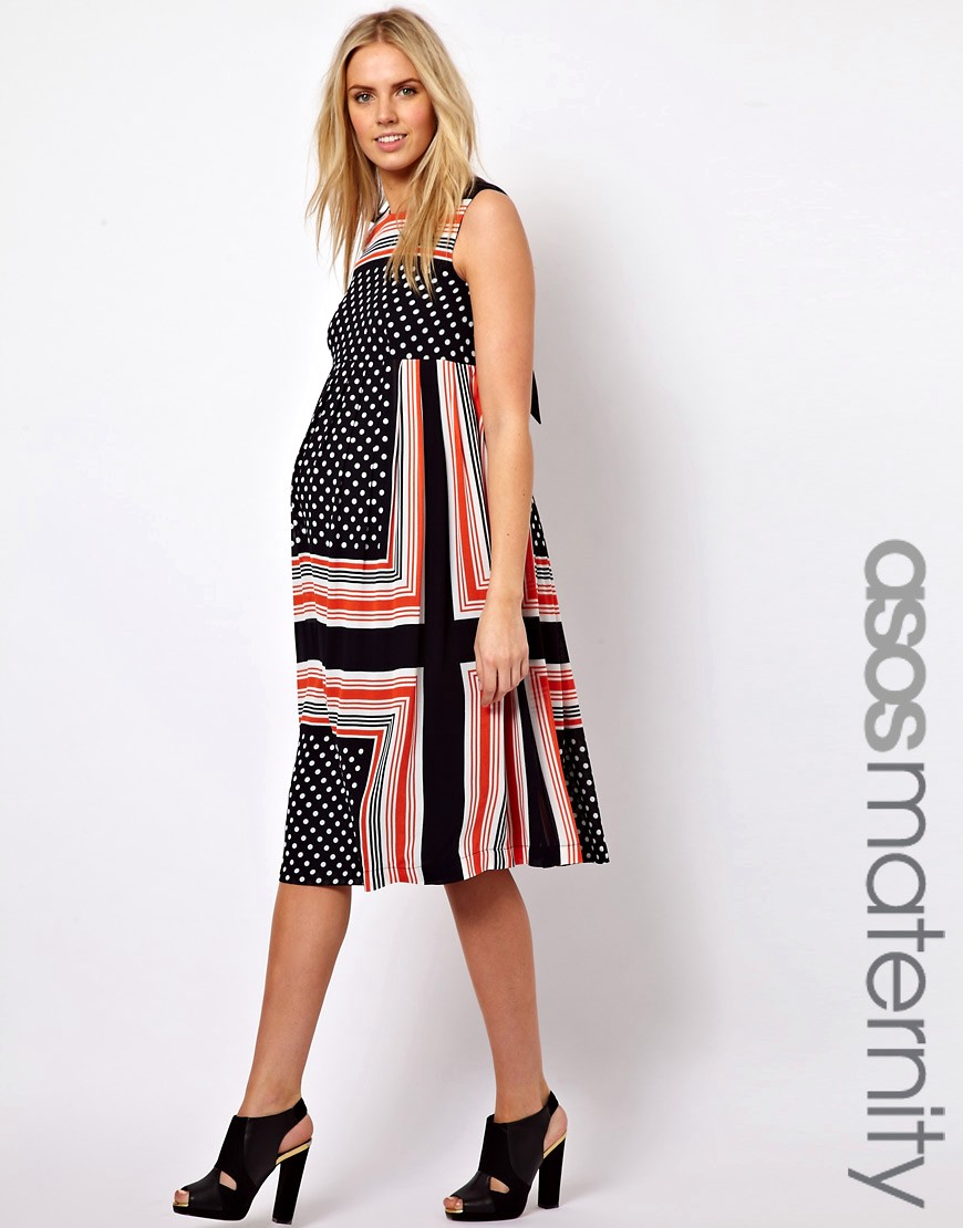 Image 1 of ASOS Maternity Midi Dress In Scarf & Spot Print