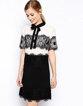 ASOS Lace Panel Bow Collar Shift