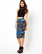 ASOS Pencil Skirt In Jewel Print