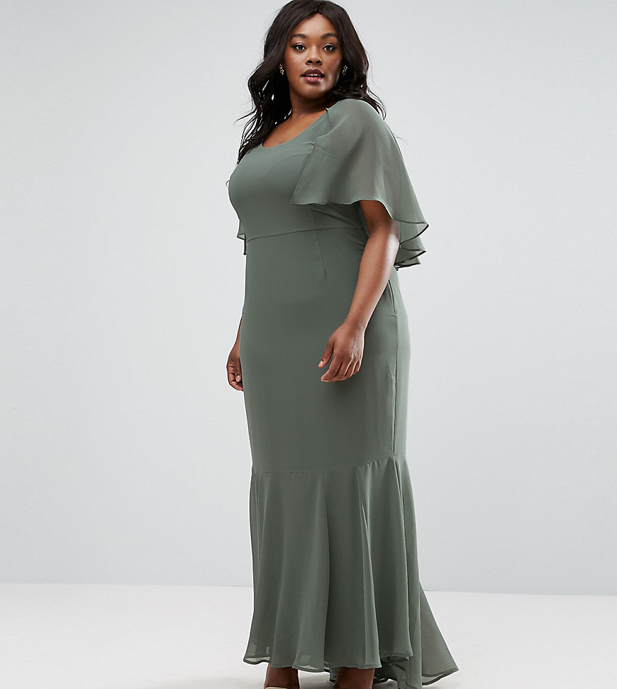 ASOS CURVE Cape 30's Seamed Fish Tail Maxi Dress
