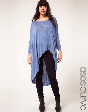 Image 1 ofASOS CURVE Exclusive Slub Jersey Dip Back Top