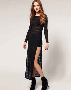 Image 1 ofASOS Tunic with Slit Side and Mesh Stripe Detail