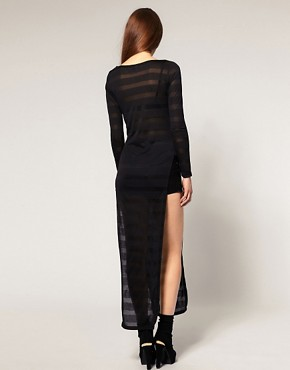 Image 2 ofASOS Tunic with Slit Side and Mesh Stripe Detail