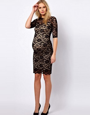 Image 4 ofASOS Maternity Lace Dress With Cut-Out Back