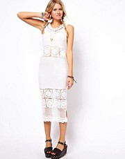 ASOS Crochet Village Midi Dress With V Back And Neck
