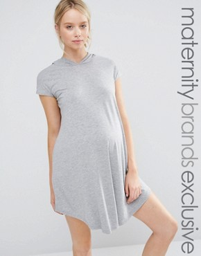 Club Lounge Maternity Oversized Jersey Dress With Hood