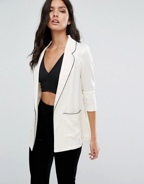 River Island Pajama Style Blazer With Piping Detail