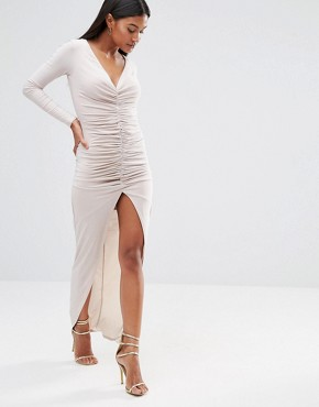 Club L Long Sleeve Maxi Dress With Ruched Detail