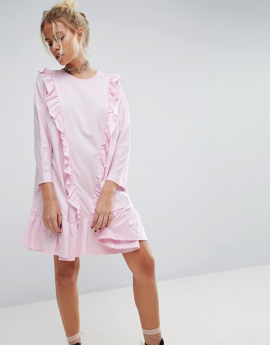 ASOS Cotton Smock Dress with Frill Detail - Pink